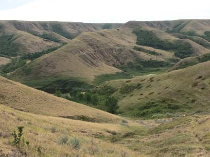 Landing pleated hills